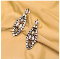 New Styles 2014 Fashion Jewelry Vintage  Crystal Leaves Earrings For Women Free Shipping