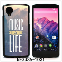 Music Is Life Colourful printing Aluminum Metal and Hard Plastic Case For Nexus 5,with 3pcs Screen Protector(1031)