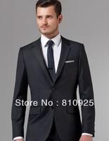 custom made groom tuxedos black and groom wear for wedding sutis wool (jacket+pant)free shipping