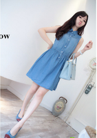 Free Shipping small fashion brief rivet vintage 2014 Spring jeans dress
