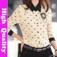 new 2014 flower printed shirt women fashion blusa 2014 women shirts blouses retro camisas top xl blouse autumn summer blusas