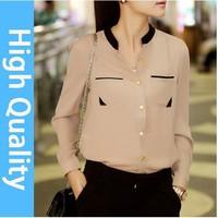 new 2014 autumn summer 3 color block gold buckle small stand collar shirt chiffon shirt female long-sleeve shirt blouses woman