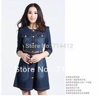 Brand Newest Vintage Fashion Women's Denim Dress,Popular Lace Neck Ladies' jeans casual Dresses plus sizes,Free shipping
