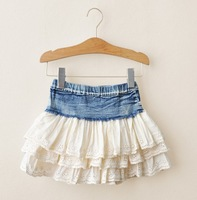 6pieces/lot Lace Hollow Girls Kids summer Demin Jean Skirt Baby Wear, C-L-Q1