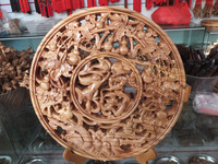 Cherry wood froude shouson disk wood carving crafts apotropaic c