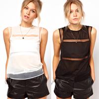 Sleeveless Patchwork Sheer Lace Blouse Chiffon Shirt Plus Size Casual Tank Fashion Women t Shirt  Summer Vest Black White