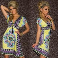 E0647 women dress tropical V-Neck Ice silk Retro Batwing Sexy ladies Summer dress Holiday Beach skirt wholesale price 1pc