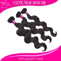 5 bundles 12inch to 28inch body wave natural color brazilian human braiding hair extension for micro braids Wholesale bulk hair