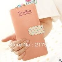 Free Shipping! new fashion lovely long design women's Polka Dot multi-card wallet zipper wallet,purse feamle,women's wallets