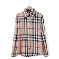 2014 Fashion Women's blouse High Quality Classic Plaid Women's Cotton Shirts England Style Causal Top Plus Size