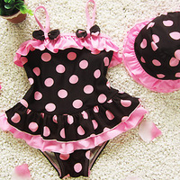 one piece swimming kids baby for girls tutu swimsuit swimwear polka dot children's swim wear 4pcs/lots