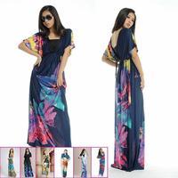 E0666  V-Neck Ice silk dress Women Summer Fashion sexy  high waist Floral Printing  Large Size Bohemia beach Long dress hot sale