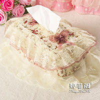 2014 new fashion Towel sets fabric lace tissue cover lace tissue box
