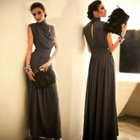 backless Fashion racerback slim waist slim evening dress one-piece dress elegant design stand collar long dinner dress