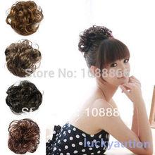Fashion Pony Tail Fake Hair Extension Bride Bun Hairpiece Scrunchie Wavy Hair  Free Shipping &Drop shipping(China (Mainland))