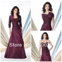 2013 Loveable A-line Purple Taffeta With Appliques&Beads Full Length 3/4 Sleeves Bolero Burgundy Mother of Bride Dress BM14001