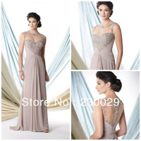 2013 Free Shipping Straight Chiffon With Pleats&Beads Back See Through Two Straps Long Mother of Bride Dress BM14005