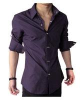 2014 New Style Fashion Slim Men's Shirt Metal Button Mens Shirt