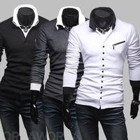 New Men Winter Unique oblique zipper slim Men's Long Sleeve shirt
