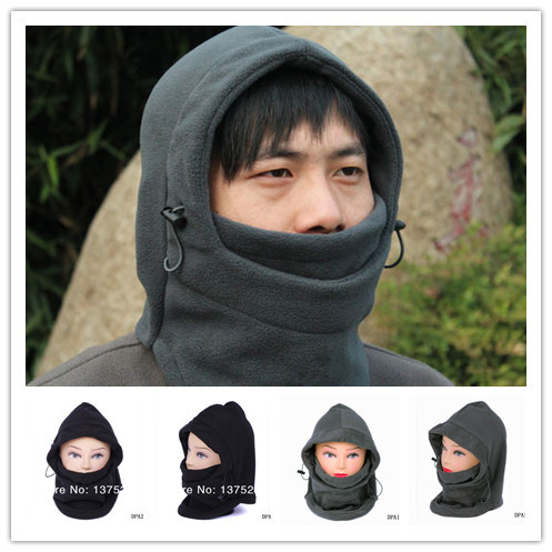 2pcs New Women Men Polyester Thermal Fleece Balaclava Hood Ski Bike Face Mask 6 in 1 Skullies & Beanies Cap Hat Free Shipping(China (Mainland))