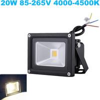 Free Shipping ! 20W Landscape Emitting Color White Lighting Waterproof Outdoor Black Shell AC85-265V LED Flood Light.