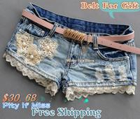 New WinnyFu 2014 lace summer flower personalized female  low-waist butt-lifting ultra-short denim shorts hole Women with belt