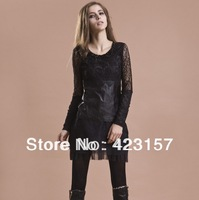 2014 Fashion Base Shirt Real Sheep Skin Leather t-shirt Lace Sleeve Design Sexy Leather T-Shirt High Quality Leather Tees ZX0525