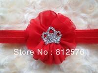 Baby girl headband Ballerina Chiffon Flower with CROWN Clear full Rhinestone headband 15pcs/lot