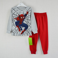 Retail free shipping 2014 new 100% cotton kids pajama sets cartoon spiderman pijamas kids boys clothing set pyjamas