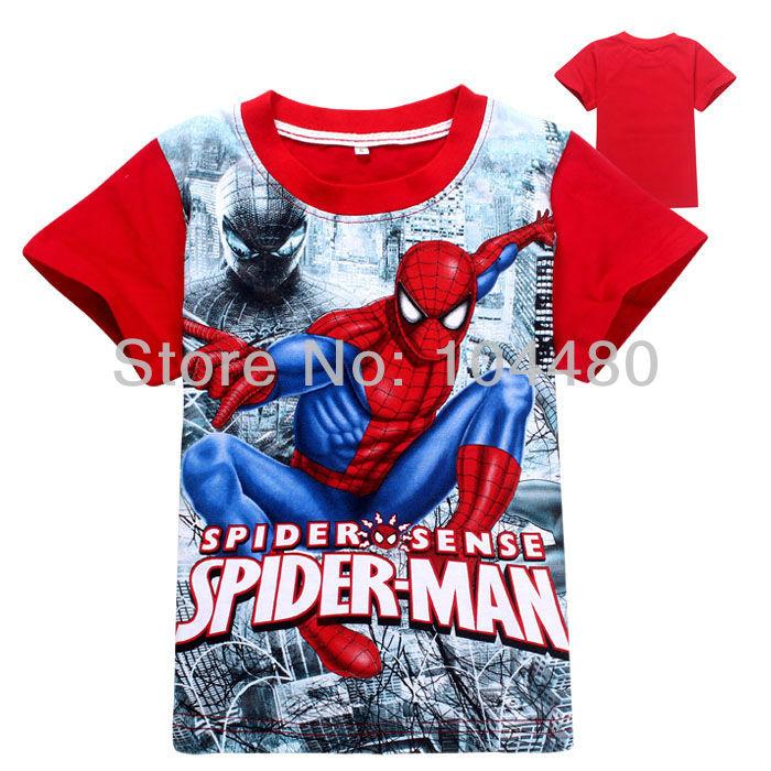 2014 été, spiderman t shirts de mode garçons, enfants bébé
