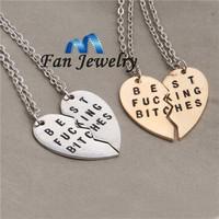 2015 new broken heart 2 parts best firends  friendship letter necklace DMV239