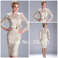 New Arrival Short Satin And Lace With Bow Sexy Fashion Mother of Bride Dresses 2014 With Long Sleeves Fast Delivery BM14041