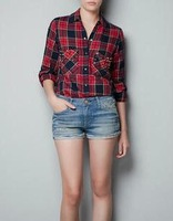 Free Shipping fashion pocket rivet plaid shirt top shirt