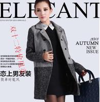 Woolen autumn and winter thickening women's houndstooth woolen outerwear small wind overcoat turn-down collar