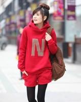 Autumn and winter fashion maternity clothing plus velvet thickening with a hood sweatshirt shorts maternity set