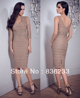 New 2014 Fabulous Taupe Dress and Stole Sheath/Column Short Knee-Length Chiffon and Lace Beaded  Mother Of The Bride Dresses