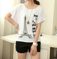 Women Fashion T shirt 2014 Summer Tops Eiffel Tower Print Tees Batwing Sleeve T Shirt Women Clothing Loose Plus Size L XXXXL