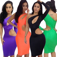 2014 New Sexy womens One Shoulder Club Evening Party Cocktail Bandage Bodycon Dress S M L 4 Colors