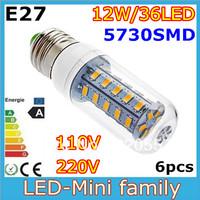 Hot sale!! 6pcs Mini E27 E14 G9 GU10 B22 5730SMD 36leds LED Corn Bulb 12W Light White/Warm White AC110V/220V Lamp Glass Cover