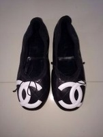 CH WHITE ON BLACK CAMBON QUILTED LEATHER BALLET FLATS Size 39/8.5