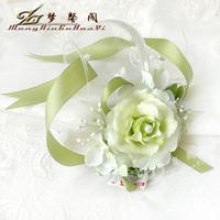 12Pcs Artificial Camellia Flower with Ribbon Bride Wrist Flower Bridesmaid Hand Flower Corsage Romantic Wedding Flowers