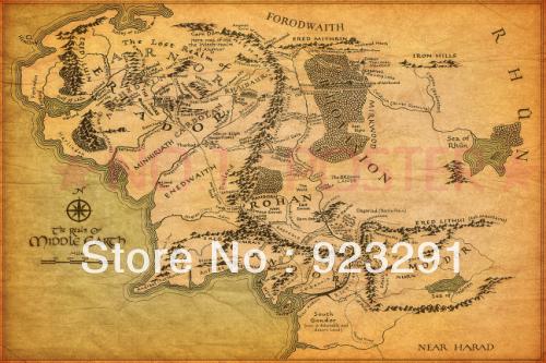 """01 Mapa da Terra Média Senhor dos Anéis 36 """"x 24 """" Poster(China (Mainland))"""