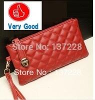 2014 New Korean fashion designer PU leather rhombic imitation handbag women's iphone wallet wholesale free shipping