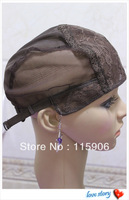 New Arrival 10pcs/lot Medium Size Dark Brown Color Wigs Caps For Making Wigs With Adjustable Strap On the back Free Shipping