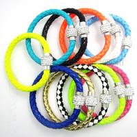 12Pcs/Lot Wholesale Hot PU Leather Bracelet & Disco Ball Crystal Magnetic Clasp Bracelet Free Shipping 02