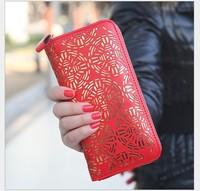 free shipping 5pcs/lot 2014 prerelease classical detonation zipper wallet hollow out women's long wallet girls wallet