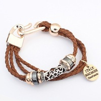 2014 New Design Fashion Jewelry Women Braided Twist Leather Charm Multilayer Coffee Bracelets&Bangles Wholesale Free Ship#103941