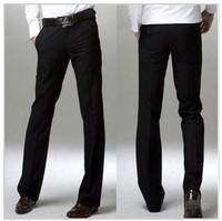 [K02]Hot Sale Free Shipping Men's Suit Pants Flat Business Casual Trousers Slim korean Fashion Dress Pants,Grey/Black 28-33