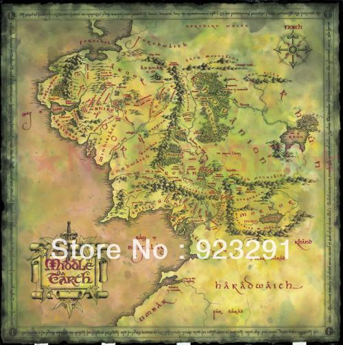 "02 Mapa da Terra Média Lord Of The Rings 24 ""x 24 "" Poster(China (Mainland))"