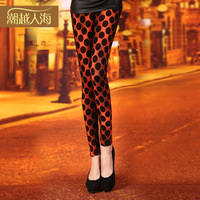 2014 spring women's legging polka dot flock printing slim hip pants legging
